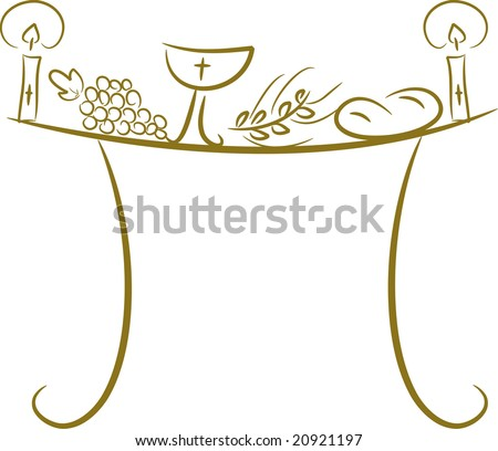 Illustration of a communion table depicting traditional Christian symbols including candle (light), chalice, grapes (wine), ear, cross and bread (vector)