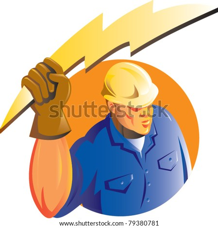 illustration of a Construction worker electrician holding a lightning electricity bolt viewed from a high angle set inside circle isolated on white done in retro style