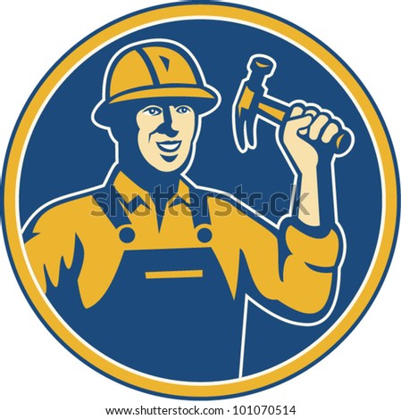 Illustration of a construction worker tradesman laborer wielding a hammer set inside circle done in retro style.