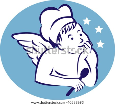 illustration  of a cook,baker or chef child angel holding a spoon and thinking of food