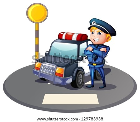 Illustration of a cop beside a police car with a yellow outpost on a white background