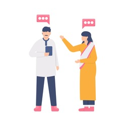 illustration of a couple of Indian businessmen talking to each other. the concept of chat, discussion, relationships, friendship, and meetings. flat design. can be used for elements, landing pages, UI