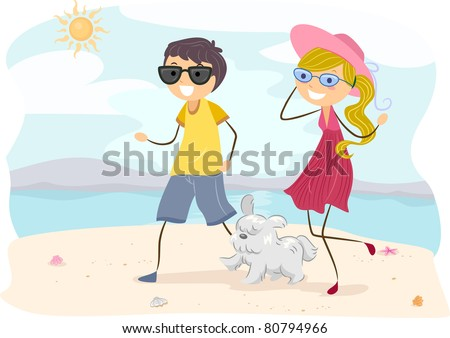 Illustration of a Couple Walking their Dog at the Beach
