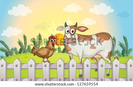 Illustration of a cow and a rooster