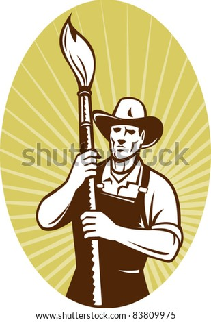 illustration of a cowboy painter holding a paint brush facing front set inside an oval done in retro style.