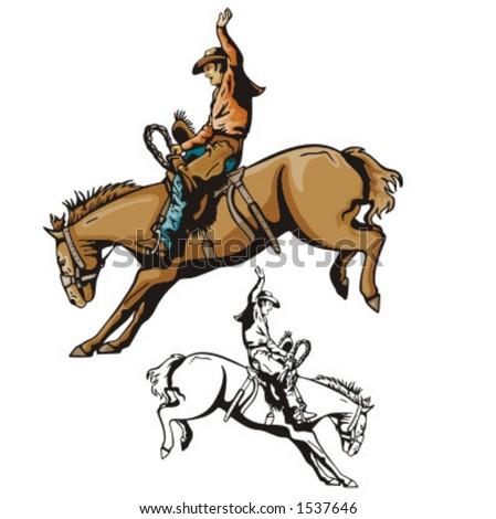 Illustration of a cowboy riding a saddled horse.