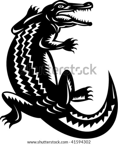 illustration of a crocodile done in retro woodcut style.