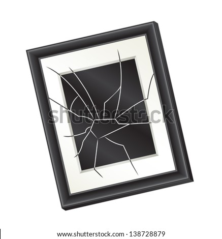 Illustration of a crooked broken picture frame hanging on a wall. Domestic abuse concept. Eps 8 Vector.