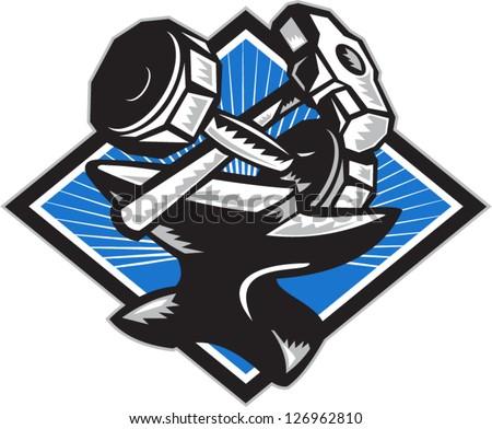 sledge hammer logo. illustration of a crossed dumbbell barbell and sledgehammer on anvil set inside oval done in retro sledge hammer logo