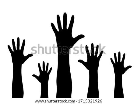 Illustration of a crowd raising hands Foto stock ©