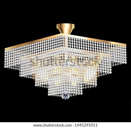 illustration of a crystal chandelier on a dark background