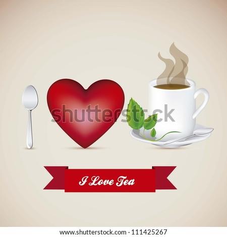 Illustration of a cup of steaming tea, I love tea, vector illustration