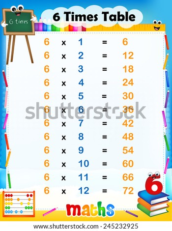 Illustration of a cute and colorful mathematical times for Time table 6 9
