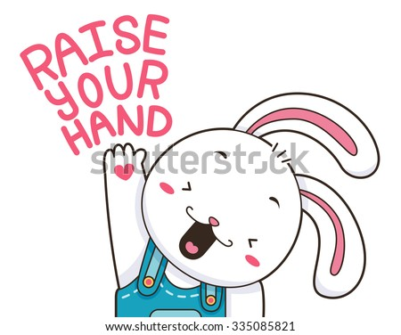 Illustration of a Cute and Happy Bunny Raising its Paw