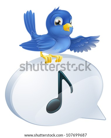 Illustration of a cute bluebird standing musical note speech bubble and singing or tweeting