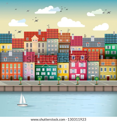 illustration of a cute city on