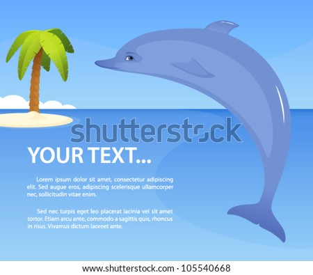 illustration of a cute dolphin against tropical seaside background ...