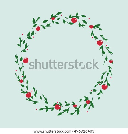 illustration of a cute green wreath of leaves with apples and floral ornament in a circle on a light background with fruit