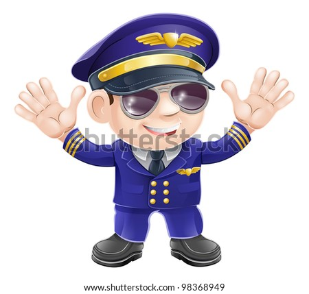 Illustration of a cute happy airplane pilot wearing sunglasses and waving