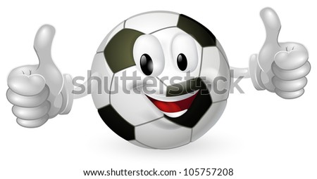 Illustration of a cute happy soccer football ball mascot man smiling and giving a thumbs up - stock vector