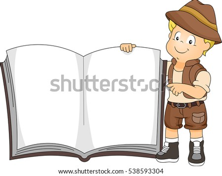 stock-vector-illustration-of-a-cute-little-boy-in-a-safari-outfit-holding-a-giant-book-open