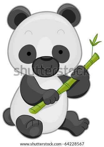 Illustration of a Cute Panda Holding a Bamboo Stick