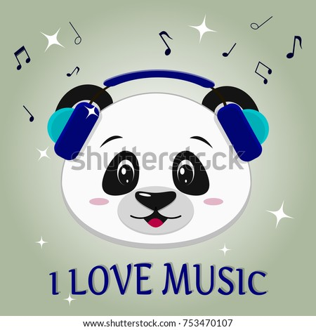 Illustration of a cute panda musician, head in blue headphones, in cartoon style. Vector illustration, a flat design.