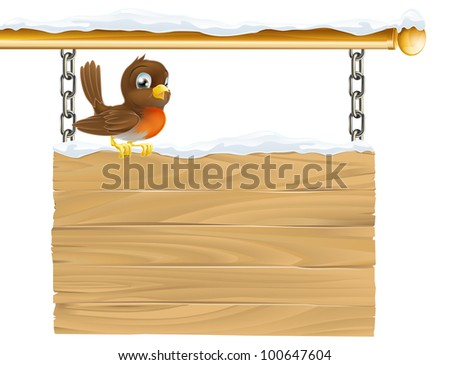 Illustration of a cute Robin red breast sitting on winter sign covered in snow