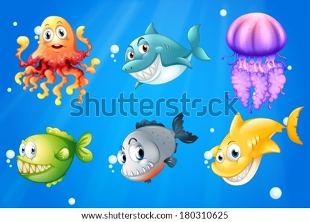 Illustration of a deep ocean with smiling creatures #180310625