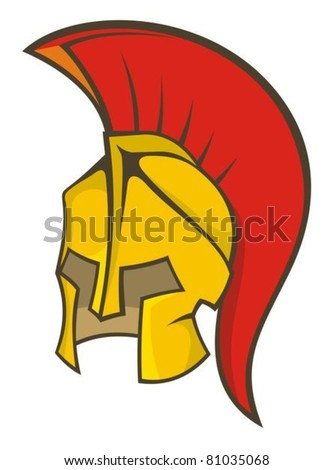 Illustration of a deep yellow and red ancient soldier helmet.