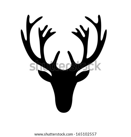 illustration of a deer head silhouette isolated on white, eps10 vector Stock photo ©