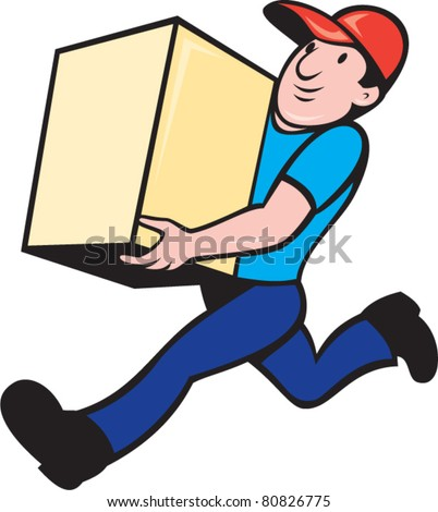 illustration of a delivery person worker running delivering box done in cartoon style on isolated background