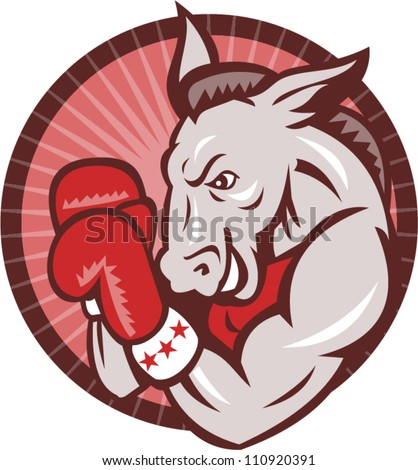 Illustration of a democrat donkey mascot boxer boxing with gloves set inside circle done in retro style.