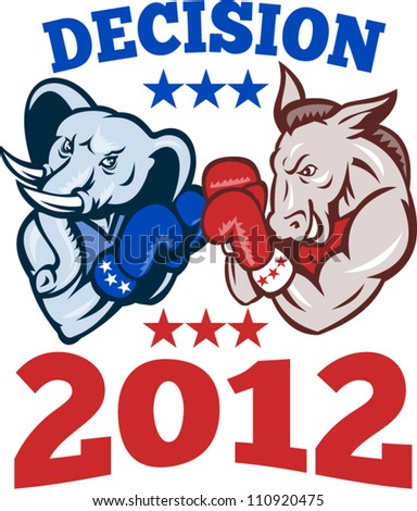 Illustration of a democrat donkey mascot of the democratic and republican elephant boxer boxing with gloves set inside circle done in retro style with words decision 2012