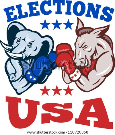 Illustration of a democrat donkey mascot of the democratic grand old party gop and republican elephant boxer boxing with gloves set inside circle done in retro style with words elections usa