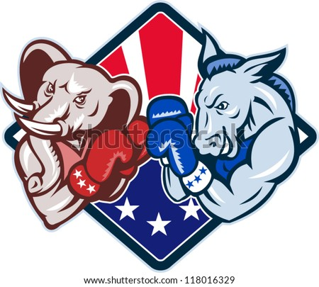 Illustration of a democrat donkey mascot of the democratic grand old party gop and republican elephant boxer boxing with gloves set inside diamond with American stars and stripes flag cartoon style.