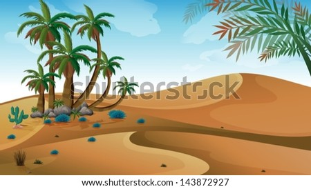 illustration of a desert with