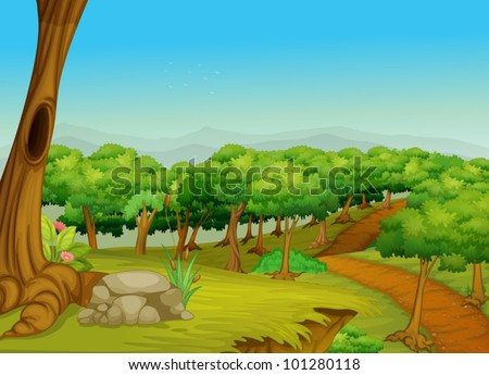 Illustration of a dirt path in the forest