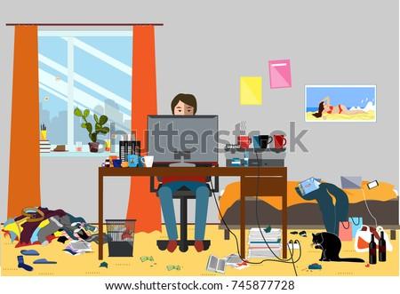 illustration of a disorganized