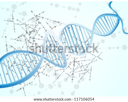 illustration of a dna in colour background vector