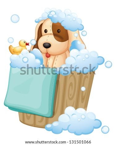 Illustration of a dog inside a pail full of bubbles on a white background