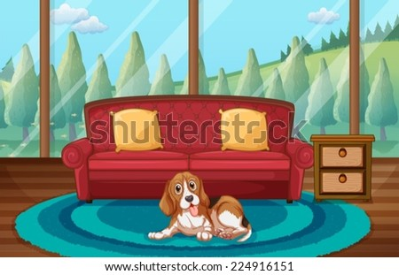 Illustration of a dog sitting in a living room