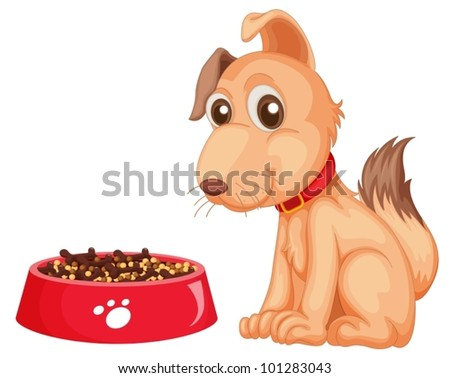 Illustration of a dog sitting next to his food