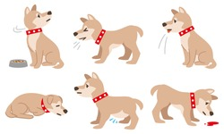 Illustration of a dog with physical condition such as filariasis on a white background