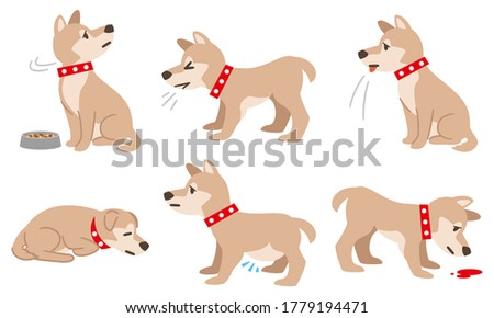 Illustration of a dog with physical condition such as filariasis on a white background Stock photo ©