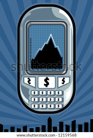 Illustration of a dollar button mobile phone with graph