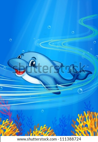 Illustration of a dolphin swimming - stock vector