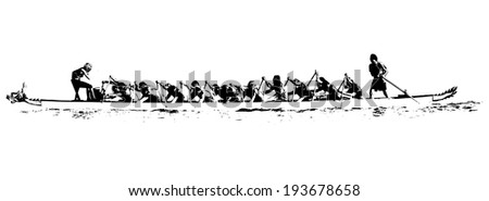 illustration of a dragon boat in action black and white on white background