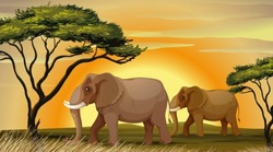 illustration of a Elephant standing under a tree