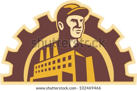 Illustration of a factory worker with factory building and mechanical gear cog in background done in retro style.